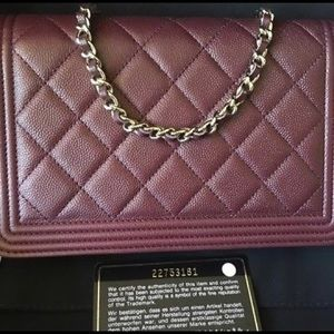 Chanel burgundy boy cavier woc